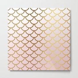 Pink Gradient And Gold Foil MermaidScales - Mermaid Scales Metal Print