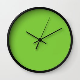 Dark Lime Green Retro Solid Color Accent Wall Clock