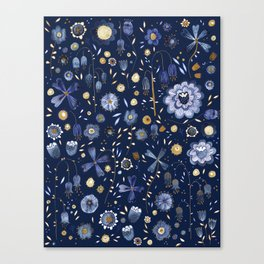 Indigo Flowers at Midnight Canvas Print
