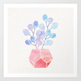 Blue Eucalyptus With Pink Terra Cotta Art Print