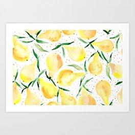 Bosc watercolor pears - summer yellow fruits Art Print