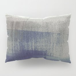 Navy Blue and Grey Minimalist Abstract Landscape Pillow Sham
