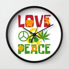 Love & Peace Green Cannabis Shirt For High People Weed T-shirt Design Marijuana Medication Legalized Wall Clock
