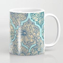 Moroccan Floral Lattice Arrangement - aqua / teal Coffee Mug