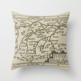 Vintage 17th-Century Renaissance Map of Bavaria Germany Throw Pillow