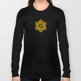 Vintage Scratched Yellow and Red Lotus Flower Yoga Om Long Sleeve T-shirt