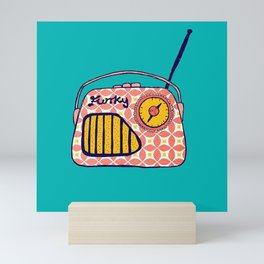 Retro Radio, funky coral vintage geometric radio. Mini Art Print