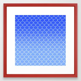 Ombre Mermaid Scales - Blue Framed Art Print