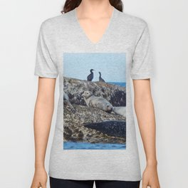 Seal pups, Seals  and Cormorants Unisex V-Neck