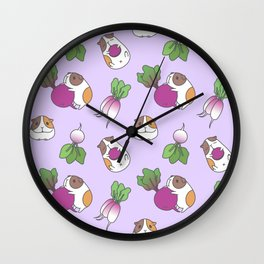 Guinea Pig and Radish Pattern Wall Clock