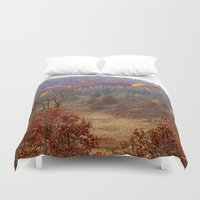 wisconsin Duvet Covers featuring Fall Forest in Wisconsin by Bella Mahri-PhotoArt By Tina