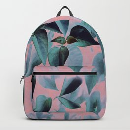 Tropical Leaves on Pink Backpack