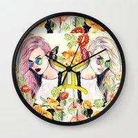 gemini Wall Clocks featuring Gemini by Sara Eshak
