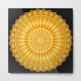 Golden Disc of Secrets Mandala Metal Print