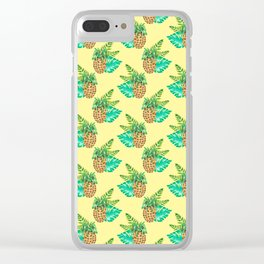 Tropical Leaves and Pineapples on Yellow Clear iPhone Case