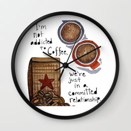 Watercolor - COMMITTED RELATIONSHIP, Coffee Art Wall Clock