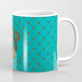 Zentangle  Cat Embossed on Faux Leather Coffee Mug