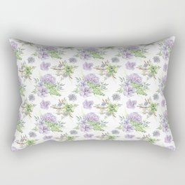 Succulents Pattern Purple and Green Rectangular Pillow