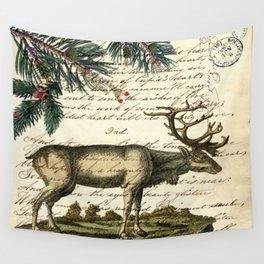western country primitive christmas mountain animal wildlife winter pine tree elk Wall Tapestry