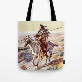 """""""Indian With Spear """" by Charles M Russell Tote Bag"""