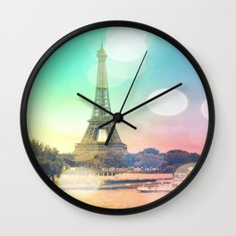 Paris. : Pastel Rainbow Bokeh Wall Clock