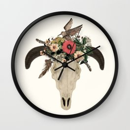 cow skull flowers Wall Clock