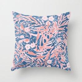 Tropical Daydream Coral Blue Throw Pillow