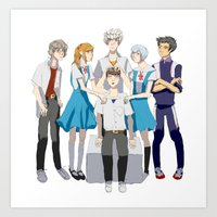 evangelion Art Prints featuring Evangelion Children by Michelle Hannah Goldberg