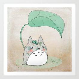 Floral Totoro Art Print