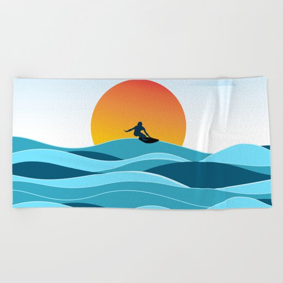 Surfing 1 Beach Towel