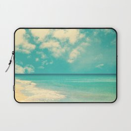 Waves of the sea (retro beach and blue sky) Laptop Sleeve