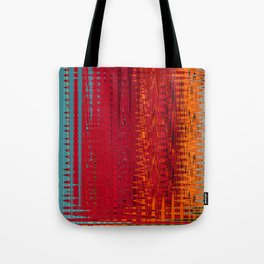 Warm red & turquoise Floor Pattern Art Tote Bag