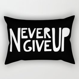 NEVER GIVE UP (black) Rectangular Pillow