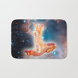 Bacon Surfing Cat in the Universe Bath Mat