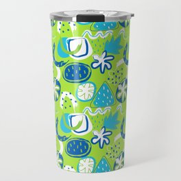 Brushstroke Abstracts - blue and green Travel Mug