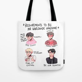 bts: requirements to be worldwide handsome! Tote Bag