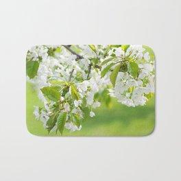 White cherry blossoms romance Bath Mat