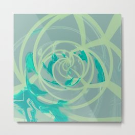 spiral line pattern painting texture abstract in blue green Metal Print