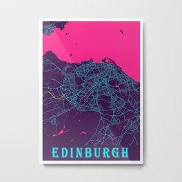 Edinburgh Neon City Map, Edinburgh Minimalist City Map Art Print Metal Print