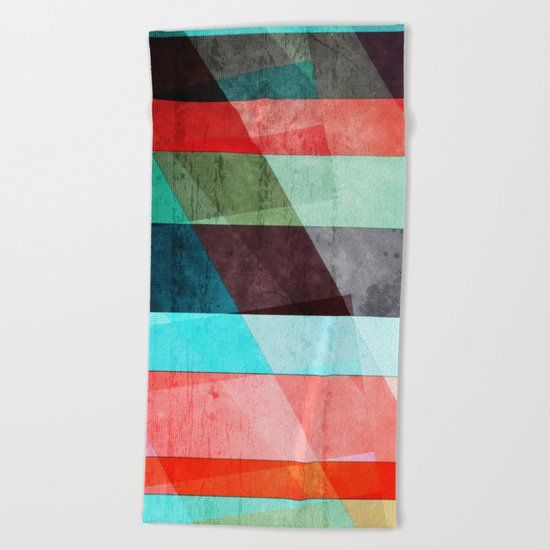 Colorful Grunge Stripes Abstract Beach Towel