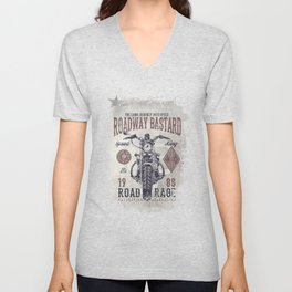 Vintage Motorcycle Poster Style Unisex V-Neck