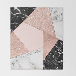 Modern rose gold glitter black white marble geometric color block Throw Blanket