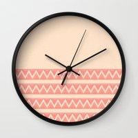 peach Wall Clocks featuring Peach by Lyle Hatch