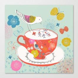 Bird and Teacup Canvas Print