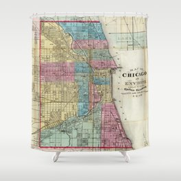 Vintage Map of Chicago (1869) Shower Curtain