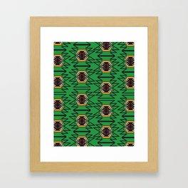 Fresh ethnic shapes in green Framed Art Print