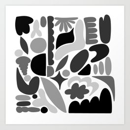 Modern Organic Abstract / Black and Grays on a White Background Art Print