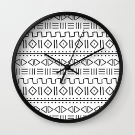 mudcloth charcoal on white Wall Clock