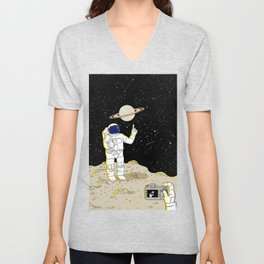 Posing Astronaut  Unisex V-Neck
