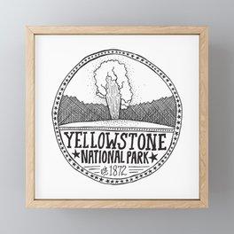 Yellowstone - Old Faithful Illustration Framed Mini Art Print